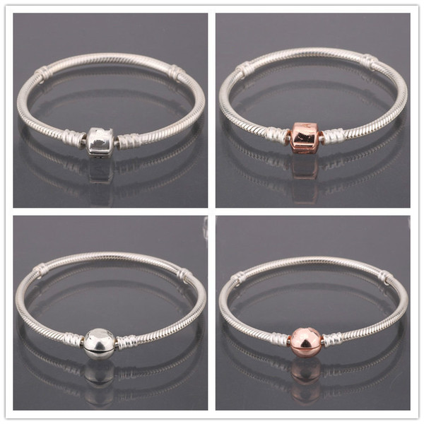 Noble rose snake chain pan bracelet round 925 Sterling Silver DIY fashion jewelry