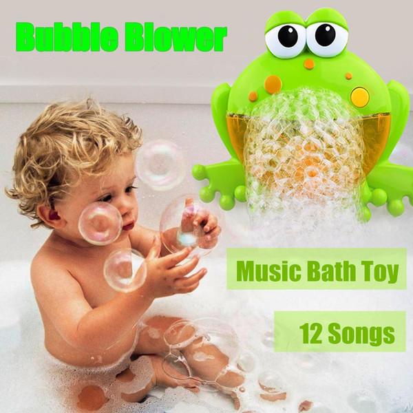 Bebé lindo Bubble Ranas Cangrejo Máquina de Ducha Automática Blower Maker Baño Música Juguetes de Dibujos Animados Juguete Educativo Regalo Divertido para los niños