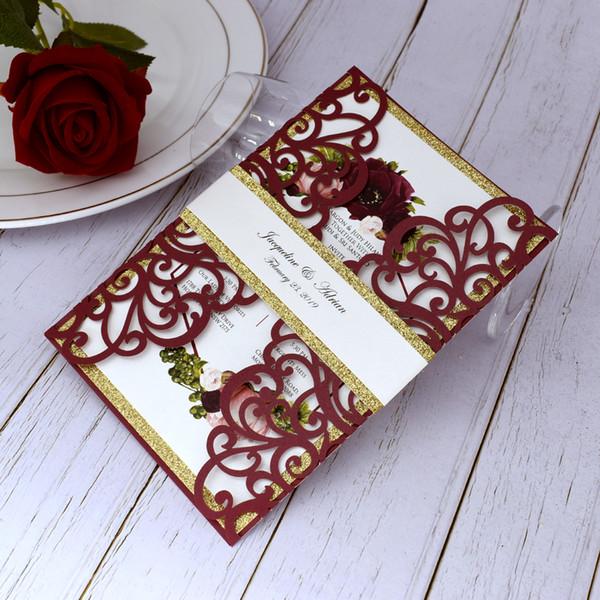 Wedding Invitations Burgundy Gold Glittery Laser Cut Fold Quinceanera Invitation Card Hollow Editable Bridal Shower Invites With Belt Cheap Wedding