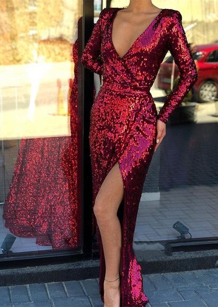 Sexy Deep V-Neck Long Sleeve Mermaid Prom Dresses 2019 Cheap Sequin Split Formal Evening Gowns Cocktail Party Ball Dress Black Girls Gown