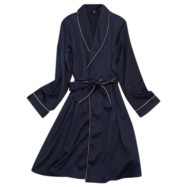 Chegada nova forma das mulheres Sexy Silk Pijamas Lingerie V-Neck Nightwear suave Underwear sólida noite vestido Robe pizama damska
