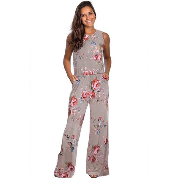 Boutique Frauen weites Bein Floral Overall Tank Romper Pockets Overlenth Frauen Kleidung Soft Fashion Elastic Bund DHL