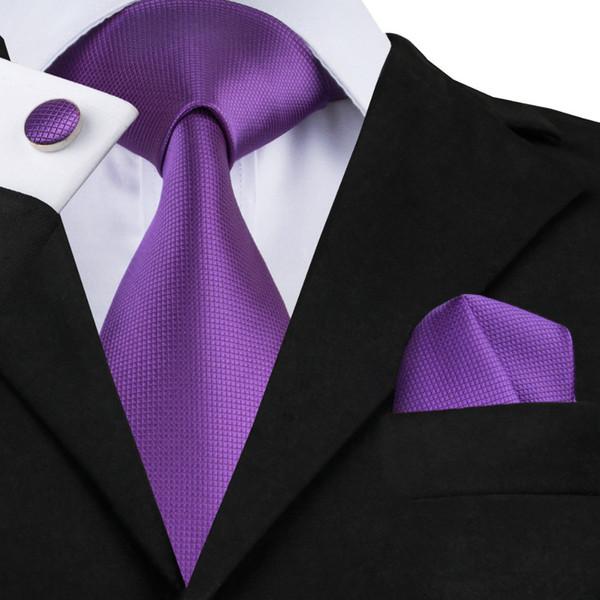 2018 Purple Tie Set Corbatas de lujo Hanky Gemelos Jacquard Nueva marca Purple Ties for Men Boda formal Hombres Tie SN-281