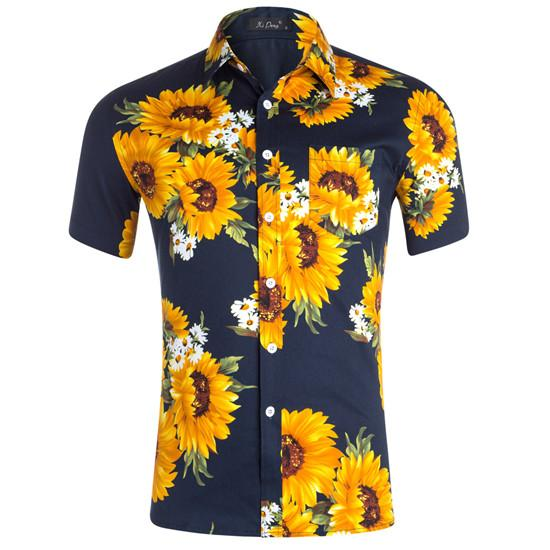 Fashion Designer Sunflower Printed Mens Shirts Short Sleeved Teenagers Tees Turn-down Collar Casual Summer Tops Mens Clothing