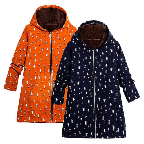 3XL 4XL 5XL плюс размер куртка женщин куртка забавный мультфильм кошка печати искусственный мех подкладка с капюшоном молния верхняя одежда 2019 осень зима долго