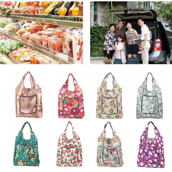 Foldable Handy Shopping Bags Printing Reusable Tote Pouch Recycle Storage Handbags Organizer