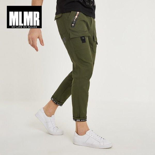 47ba608fb7 Mlmr dos homens 100% algodão estilo coreano impressão casual calças slim  fit calças mens calças de carga 2019 novo inverno 218314507 y190413