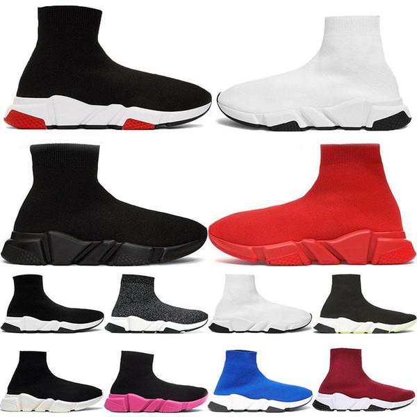 Paris Luxo Sock Shos velocidade Botas sapatilhas ocasionais Preto Azul Vermelho Branco Cinza de moda mens mulheres tretch malha designer de treinador corredor