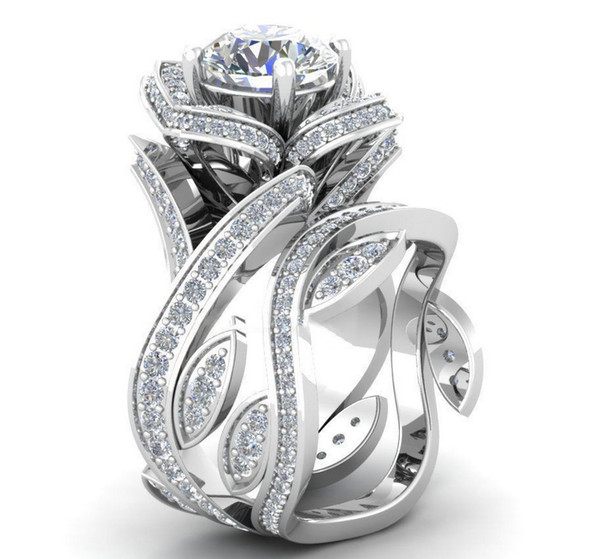 Farben Blume Rose Zirkon Ring Diamant Kristall Ring Strass Blume Wrap Ring Sets Frauen Modeschmuck Valentinstag Geschenk Drop Ship