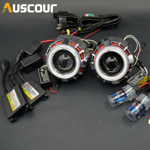 "2.8/"" Auto Bulbs Bi-Xenon HID Projector Lens Kit with Double Angel Eyes H1 H4 H7"