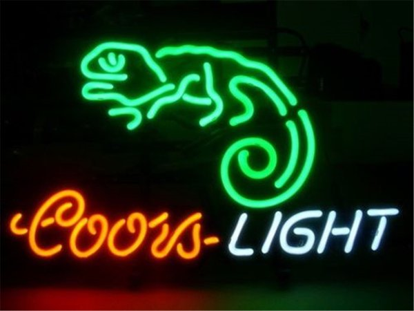 New Star Neon Sign Factory 17X14 Inches Real Glass Neon Sign Light for Beer Bar Pub Garage Room Coors Light Chameleon.