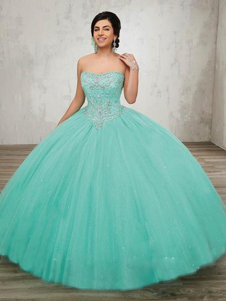 Nuevo vestido de bola turquesa sin tirantes Princesa vestidos de quinceañera 2019 vestidos de tul de 15 años debutante Sweety Prom vestidos de fiesta