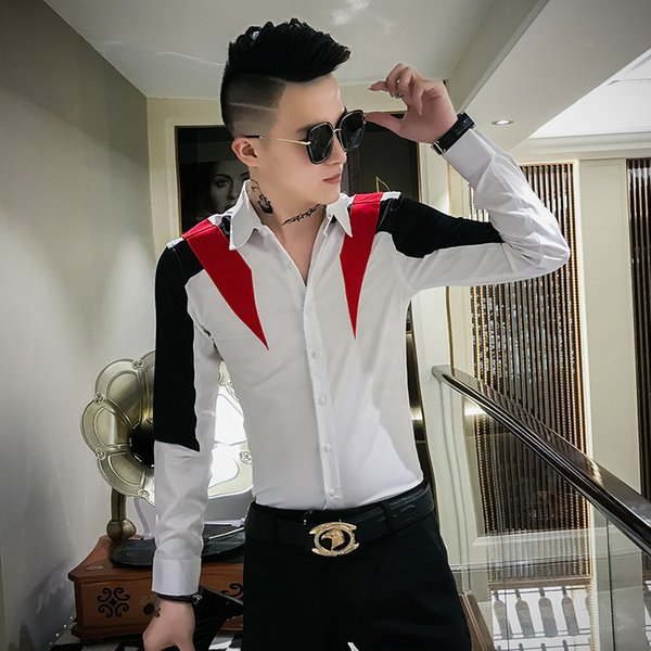 chemise homme brand new tuxedo shirt long sleeve patchwork color streetwear shirt men slim fit casual dress shirts, White;black