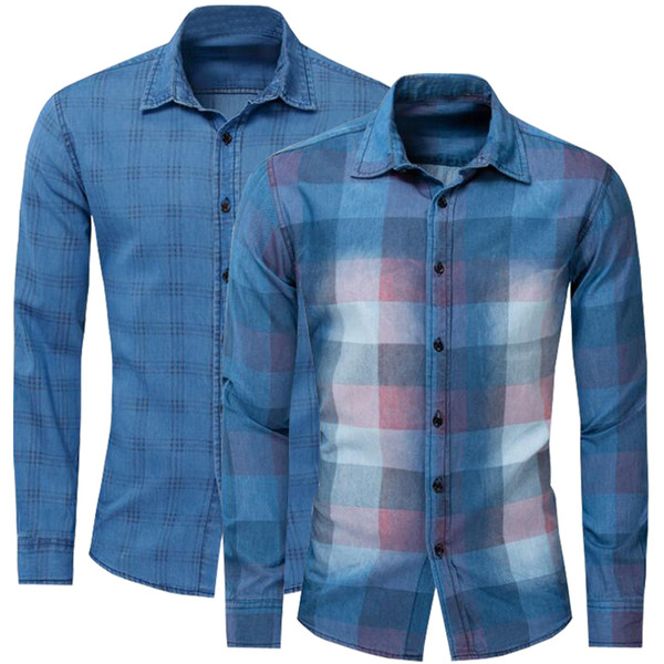 2pcs 2019 new shirt brand 100% cotton men shirts casual plaid shirt men long sleeve camisa masculina brand clothing, White;black