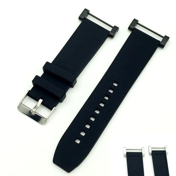 T-AMQ Bracelet en caoutchouc noir et silicone 24 mm pour bracelet Suunto Core Traverse + adaptateurs PVD + tournevis-17