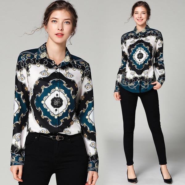 delle donne Flora stampato camice della signora di modo Manica Lunga Slim Top 2019 Nuovo Colorful Fashion etichetta del collo casuale della camicia di affari di stile di formato M-2XL