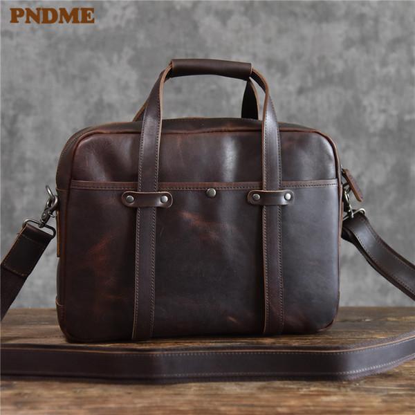 PNDME высокое качество винтаж натуральная кожа мужской портфель бизнес повседневная простой офис ручной работы сумка для ноутбука