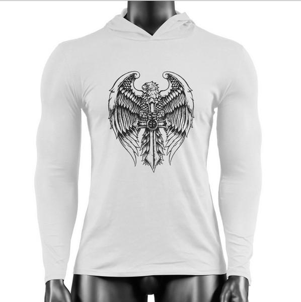 HOT 2019 homens de fitness algodão puro águia cruz impresso moda confortável esportes cap manga longa guarda gym