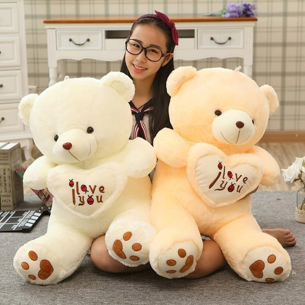 Kids 1pc Big I Love You Teddy Bear Large Stuffed Plush Toy Holding LOVE Heart Soft Gift for Valentine Day Birthday Girls' gift toys