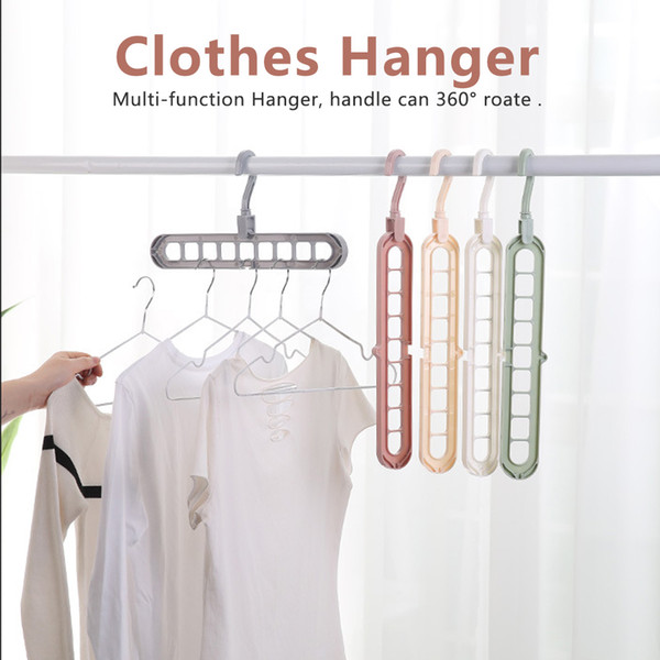 360 Degree Rotation Multifunction Multiport 9 Holes Plastic Scarf Clothes Hangers Clothes Drying Rack Storage Racks HK0282