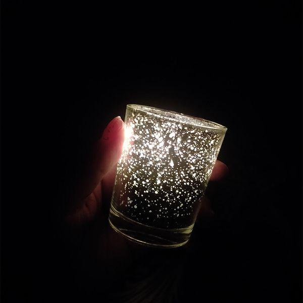 Звездная ночь чай свет держатель Ртуть стекла обету подсвечник пятнистая Рождество золото красный Серебряная свадьба украшения партии