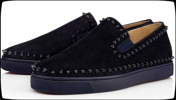 Designer Red Bottom Sneakers Casual Shoes Mens Womens Black Lows Spikes Flats Loafers Pik Boat Genuine Leather Design Man Woman Shoe *59869
