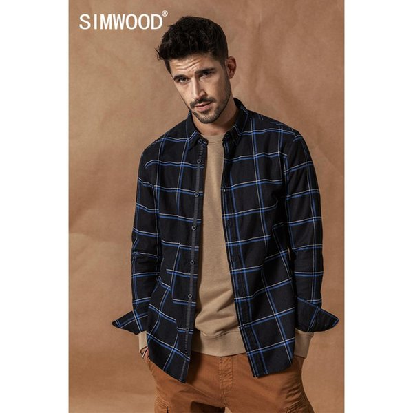 simwood casual shirts men 2019 new 100% pure cotton long sleeve plaid shirts male slim fit plus size camisa masculina 190008, White;black