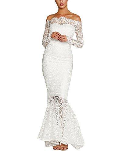 BacklakeGirls Wedding Women's Floral Lace Long Sleeve Off Shoulder Wedding Mermaid Dress