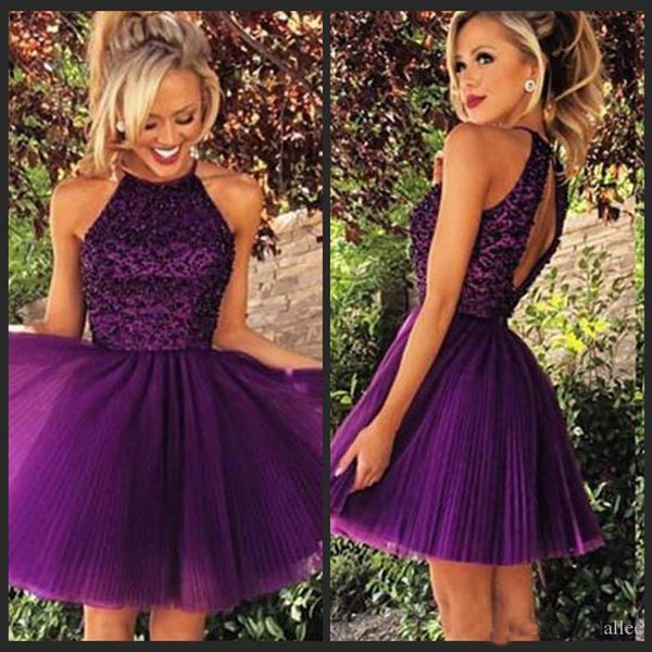 2019 Short Purple Tulle Homecoming Dresses for Summer 8th Grade Dance Back to School Sweet Sixteen Graduation Teens Beaded Ball Prom Gowns