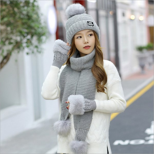 Wholesale-Christmas Gift warm Snowflake Design Knitting Winter Women Snow Hats Glove Scarf Three Pieces 3Pcs/Set