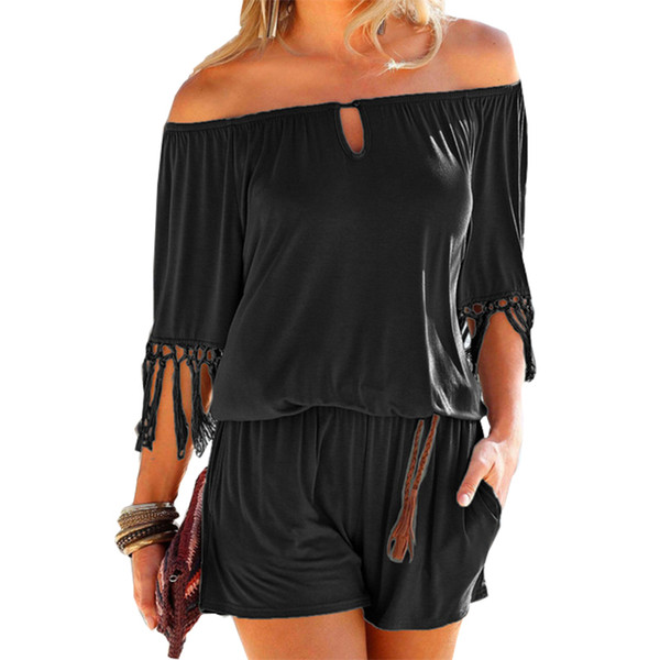 Casual Women Summer Playsuits Sexy Slash Neck Tassel Beach Jumpsuits Shorts Overalls Boho Girls Pockets Rompers Xxl Gv923 Y19051601