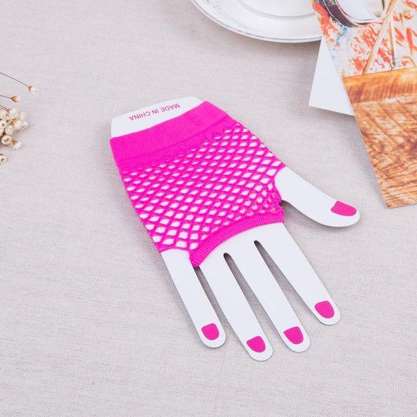 Ladies Fishnet Gloves Short Fingerless Neon Party Dance Womens Glove 1Pair