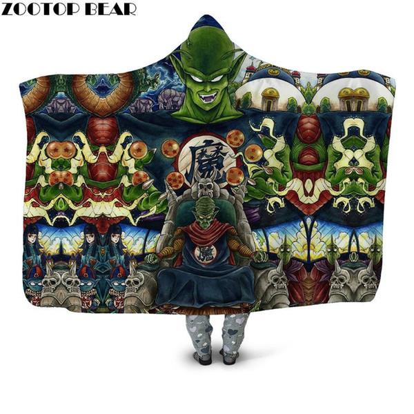 Cool Devil Anime Wearable Hooded Blanket Decoration Gifts Plush Blanket Soft Sherpa Unisex ZOOTOPBEAR