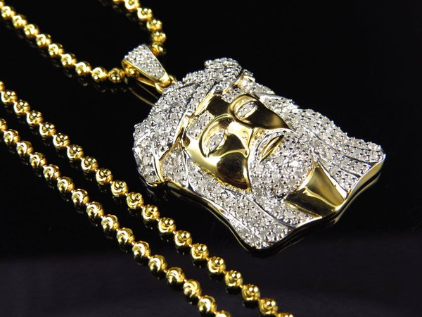 Mens .75 ct Real Diamond Jesus Head Pendant in Yellow Gold Finish with Chain
