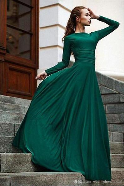 Vestido De Noite Longo 2019 Zarif Koyu Yeşil Abiye Uzun Kollu Parti Abiye Mütevazı Uzun Gelinlik Modelleri Ucuz