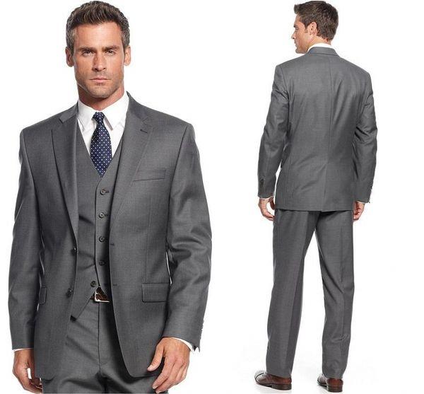Grey Men Wedding Suits Man Blazer Jacket Vest Pants Slim Fit Groom Tuxedos Bridegroom Suit 3 Piece Prom Wear Costume Homme Custom Made