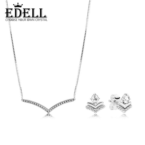 EDELL 100% 925 Sterling Silver New 2019 Early Spring Classic Wishes Earring Studs Shimmering Wish Collier Necklace Gift Set