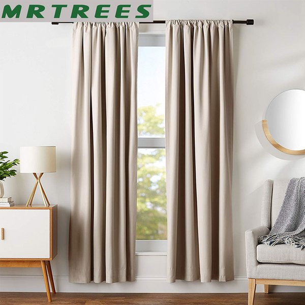 2019 MRTREES Modern Blackout Curtains For Living Room Bedroom Window  Treatment Blinds Solid Finished Window Blackout Curtains Panel From  Douglass, ...