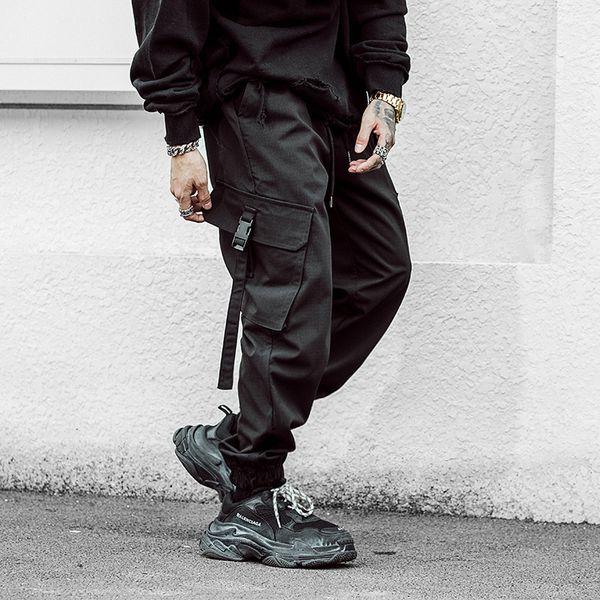 Pantalón de carga Harem multibolsillos para hombre Pantalón de carga Streetwear Punk Cargo Hip Hop Pantalones casuales Joggers Hombre Negro