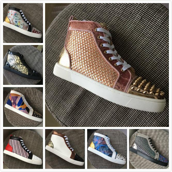 New Designer Brand Red Bottoms Men Women Pink Patchwork Leather Gold Spikes Toe High Top Casual Shoes Luxury Trainers 35-47