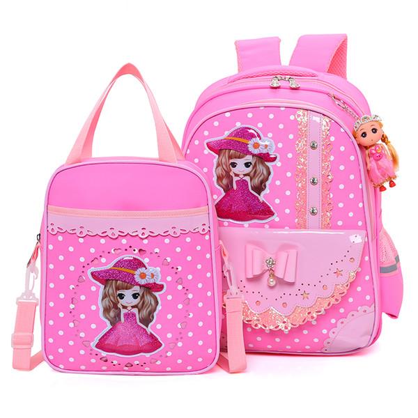 juego de bolsos de escuela para niños niña mochila rosa arco perla colgante mochilas escolares para niños mochilas para adolescentes ortopédicos mochila