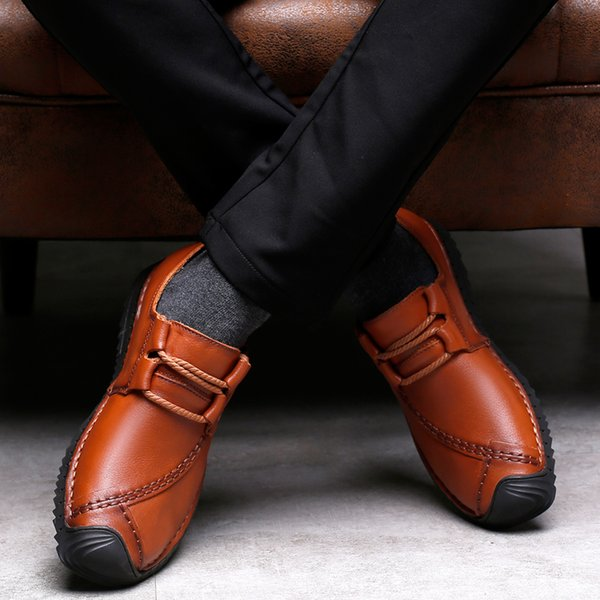 ARUONET Lüks Tasarımcı Erkek Deri Ayakkabı El Yapımı Resmi Ayakkabı Moda Adam Rahat Flats Zapatos De Cuero De Los Hombres
