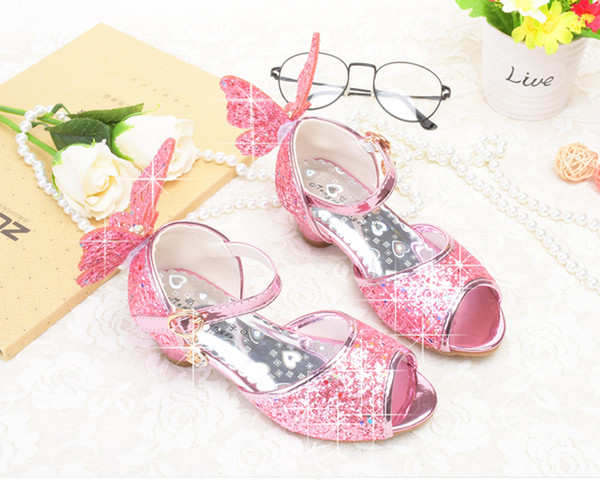 Lovely Silver Gold Pink Flower Girls' Shoes Kids' Shoes Girl's Wedding Shoes Kids' Accessories SIZE 26-37 S321004