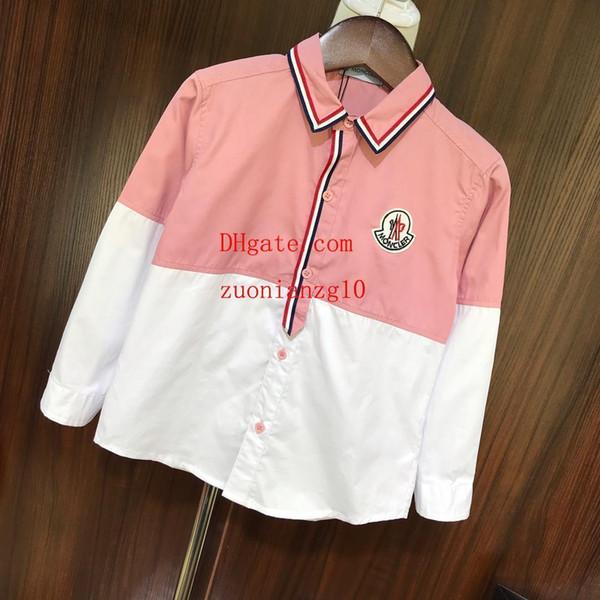 Çocuk Erkek Giyim Kız Çocuk Yaka T Shirt Klasik Pamuk Tees Tops Katı Renk Polo Uzun kollu 2019 yeni sıcak satmak Erkek Kız bluz
