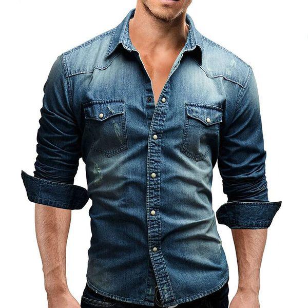 Men Jeans Camisa 2019 de manga larga Casual Camisa vaquera de los nuevos hombres adelgazan solo pecho para hombre Camisa Masculina