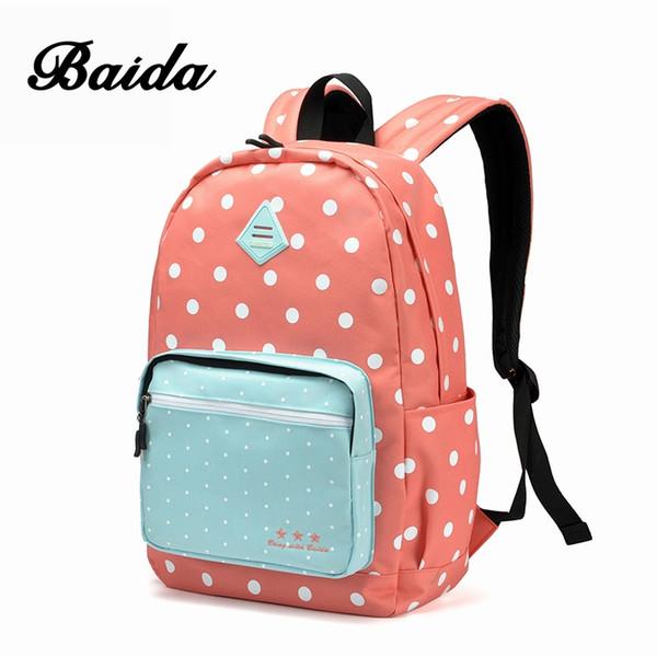 BAIDA Women Backpack High Quality Pink Cute Backpacks Sweet Polka Dots Rugzak Stipjes School Bags For Teens Girls #92644