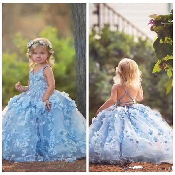 3D Floral Applique Flower Girls Vestidos 2019 Cross Straps Backless Comunhão Vestidos de Festa Puffy Tulle Aniversário vestido de Baile Vestido Meninas Pageant