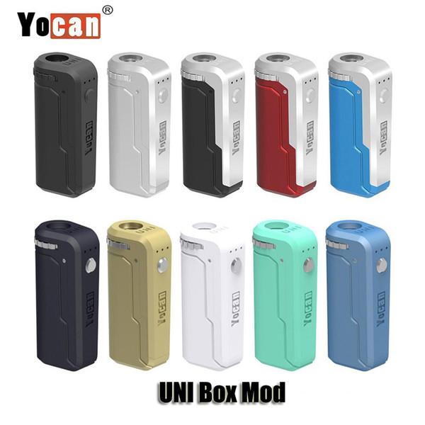 100% original Yocan UNI Box Mod 650mAh Precalentamiento VV Batería de voltaje variable con adaptador magnético 510 para cartucho de aceite grueso auténtico