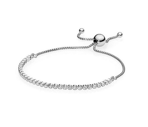2019 New 925 Sterling Silver Cubic Zirconia Fringe Charm Beads Fit Women Pandora Bracelet Adjustable Base Chain Bracelet Bangle DIY Jewelry