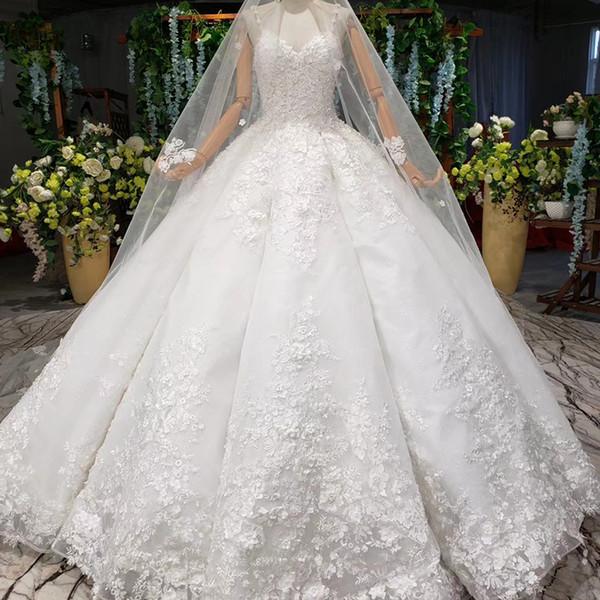роскошного арабского бальное платье свадебных платьев DUBAI бретелек аппликаций сияющих кристалл блестки кружево свадебных платья Hochzeitskleider